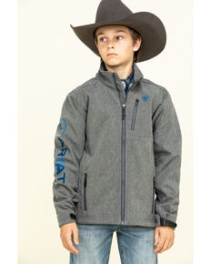 Ariat Boys' Charcoal Logo 2.0 Softshell Jacket , Grey, hi-res