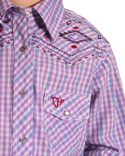 Cowgirl Hardware Girls' Palomino Plaid Aztec Embroidered Long Sleeve Snap Shirt, Purple, hi-res