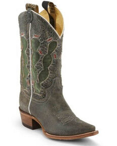 Justin Women's Pearce'd Crackle Western Boots - Snip Toe, Black, hi-res