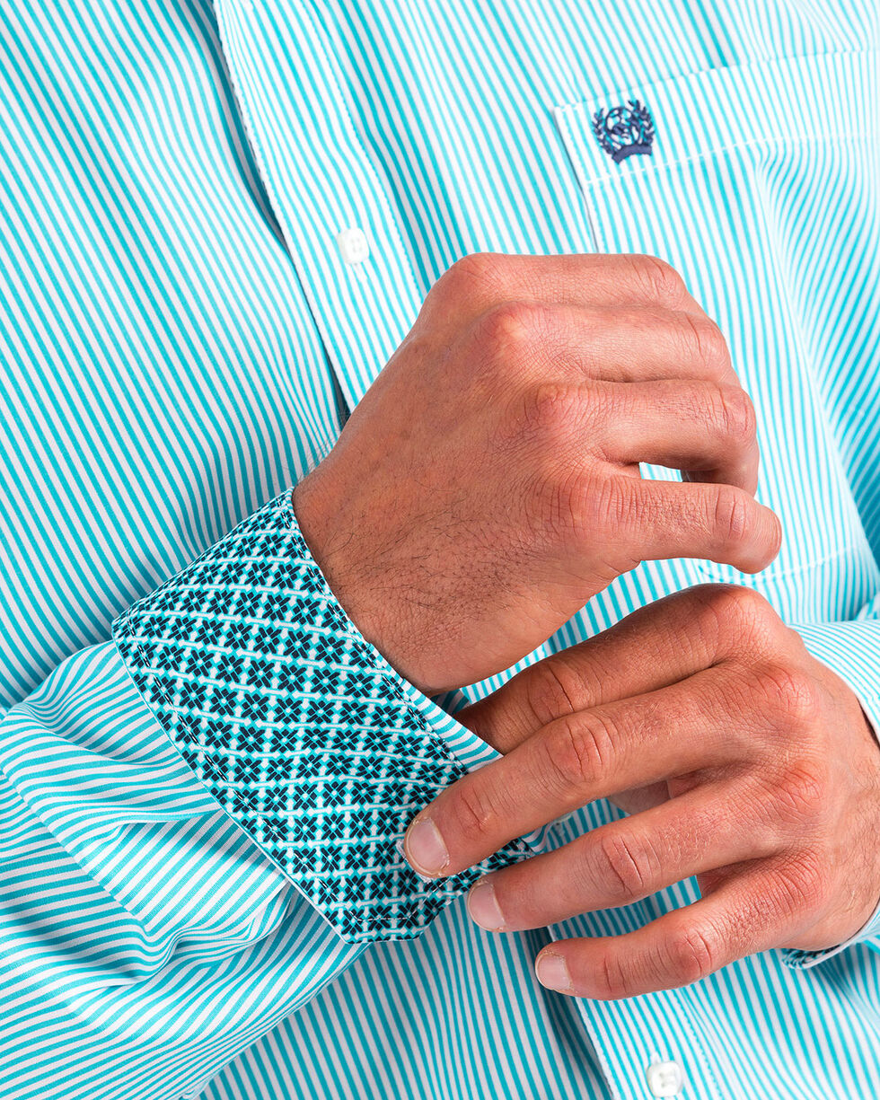 Cinch Men's Turquoise Stripe Long Sleeve Button Down Shirt, Turquoise, hi-res
