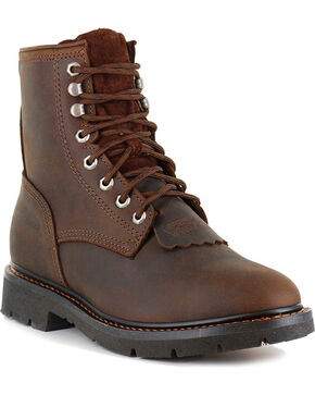 "Cody James Men's 8"" Lace-Up Kiltie Work Boots - Soft Toe, Brown, hi-res"