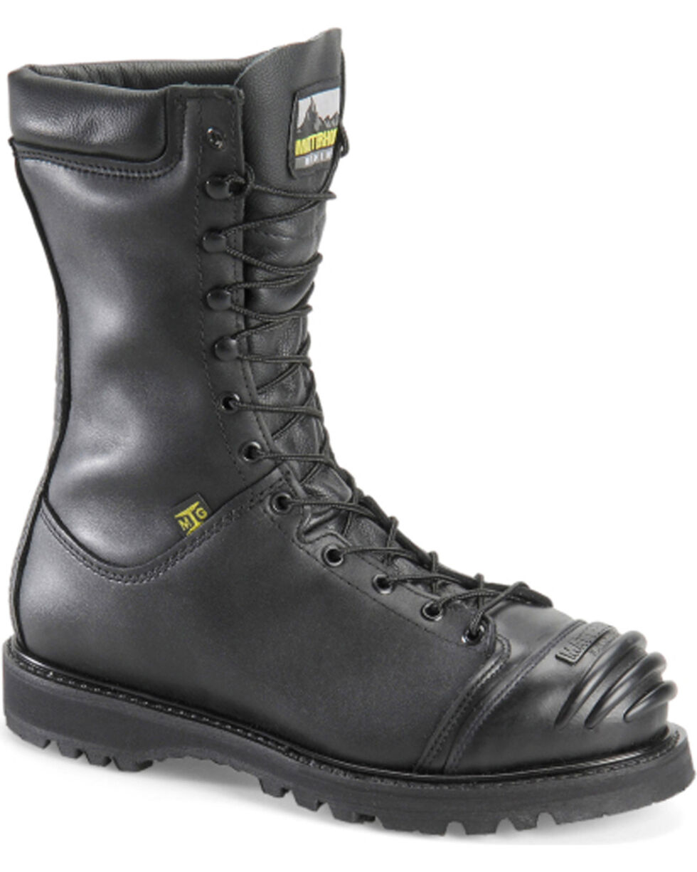 Matterhorn Men's Black Waterproof Lace Up Mining Boots - Steel Toe , Black, hi-res