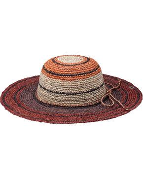 "Peter Grimm Rio 4 1/4"" Striped Brown Raffia Straw Sun Hat, Brown, hi-res"