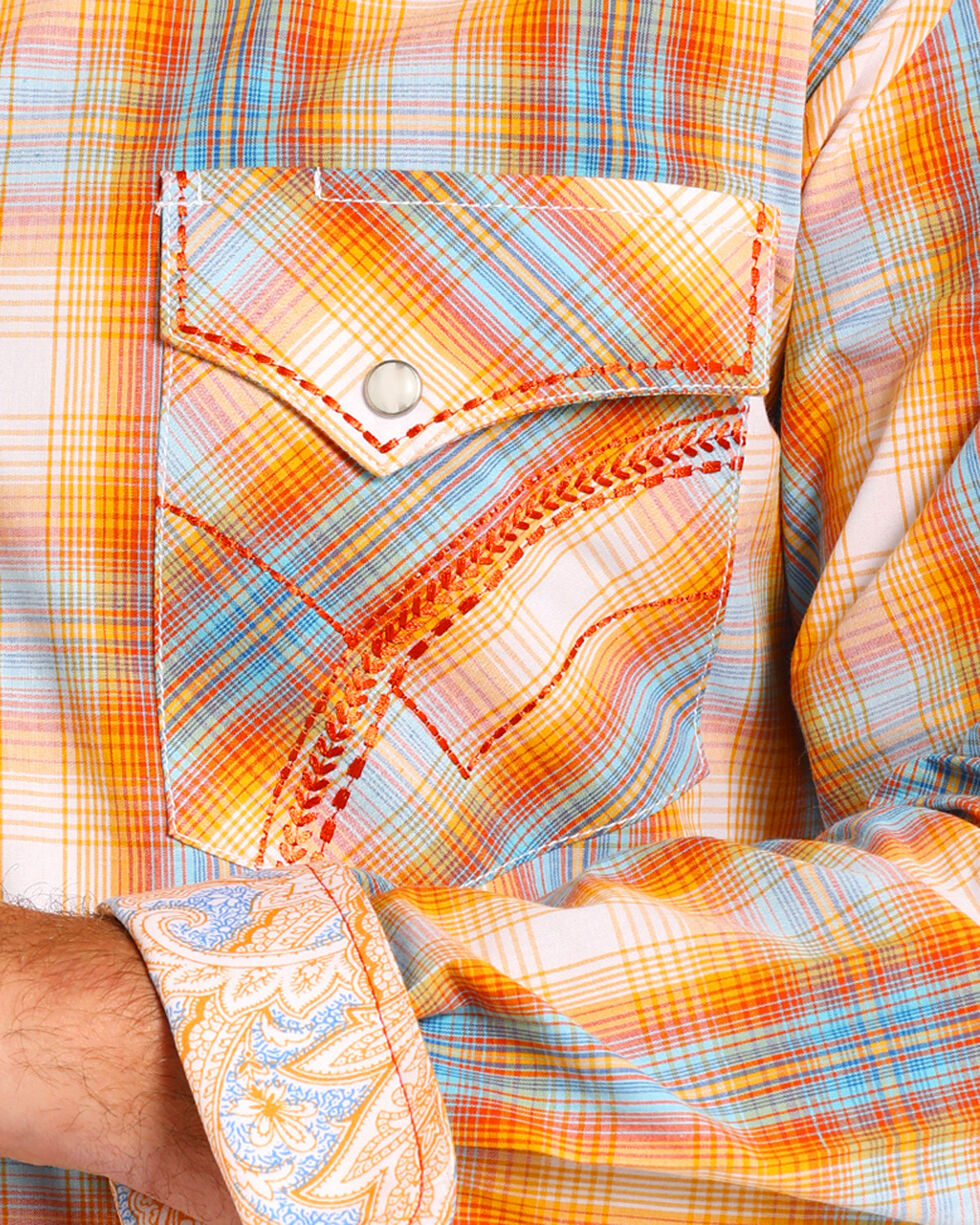 Rough Stock by Panhandle Men's Orange and Blue Plaid Long Sleeve Shirt, Orange, hi-res