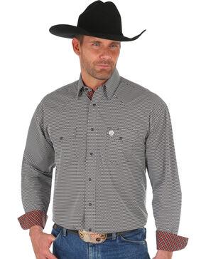 George Strait by Wrangler Men's Brown Printed Long Sleeve Western Shirt , Brown, hi-res