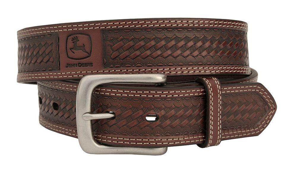 John Deere Basketweave Leather Belt, Tan, hi-res