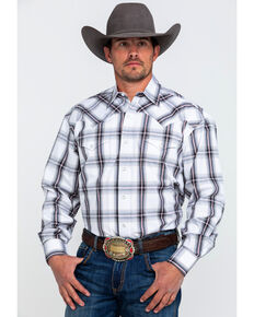 Stetson Men's Black Large Plaid Snap Long Sleeve Western Shirt , Black, hi-res