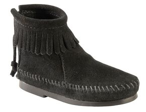 Minnetonka Girls' Suede with Fringe Back Zipper Moccasin Boots, Black, hi-res