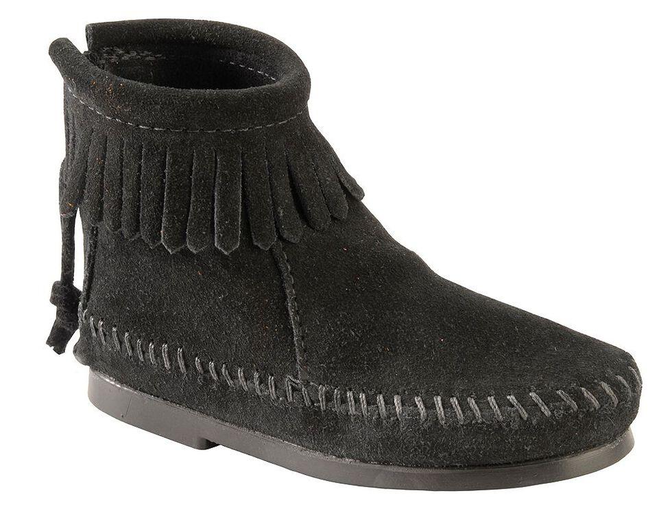 Minnetonka Girls' Suede with Fringe Back Zipper Moccasin Boots, Black, hi-res