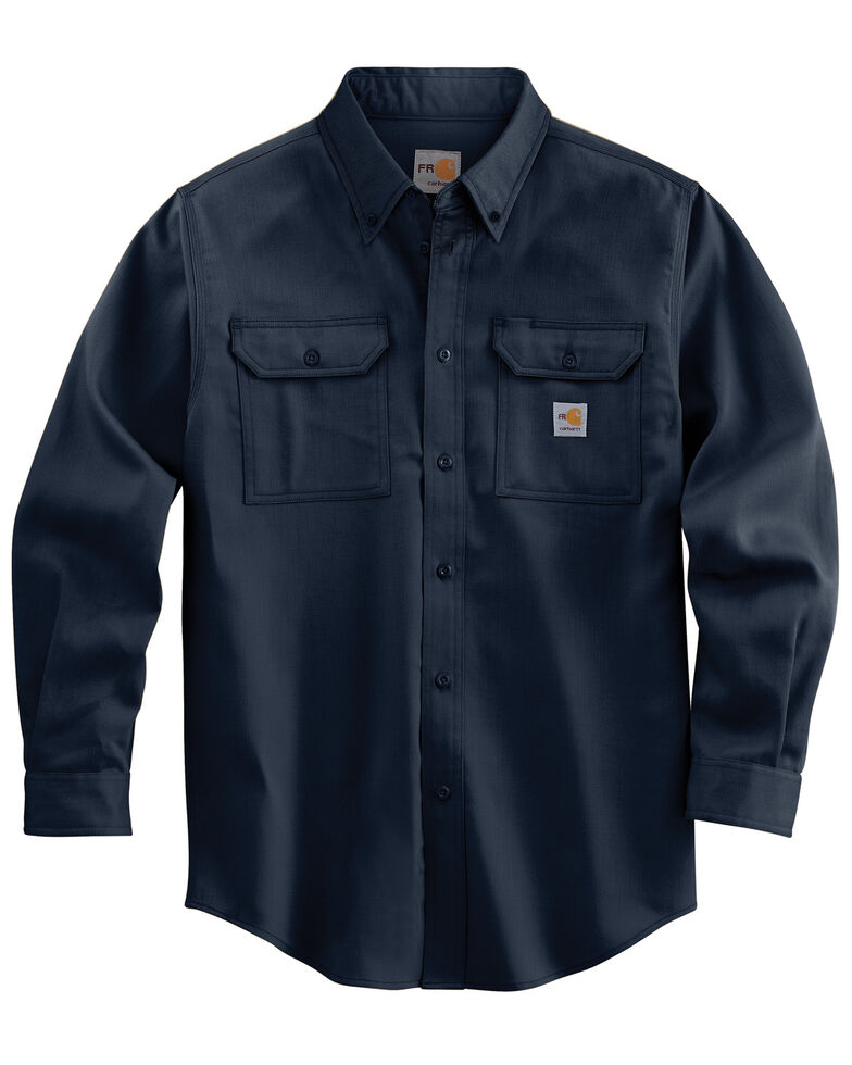 Carhartt Men's Flame Resistant Dry Twill Long Sleeve Work Shirt, Navy, hi-res