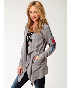 51e9417c41 Roper Womens Gray A Rose Is A Rose Cardigan