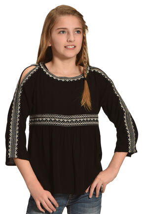 Miss Me Girls' Black Cold Shoulder Embroidered Top , Black, hi-res