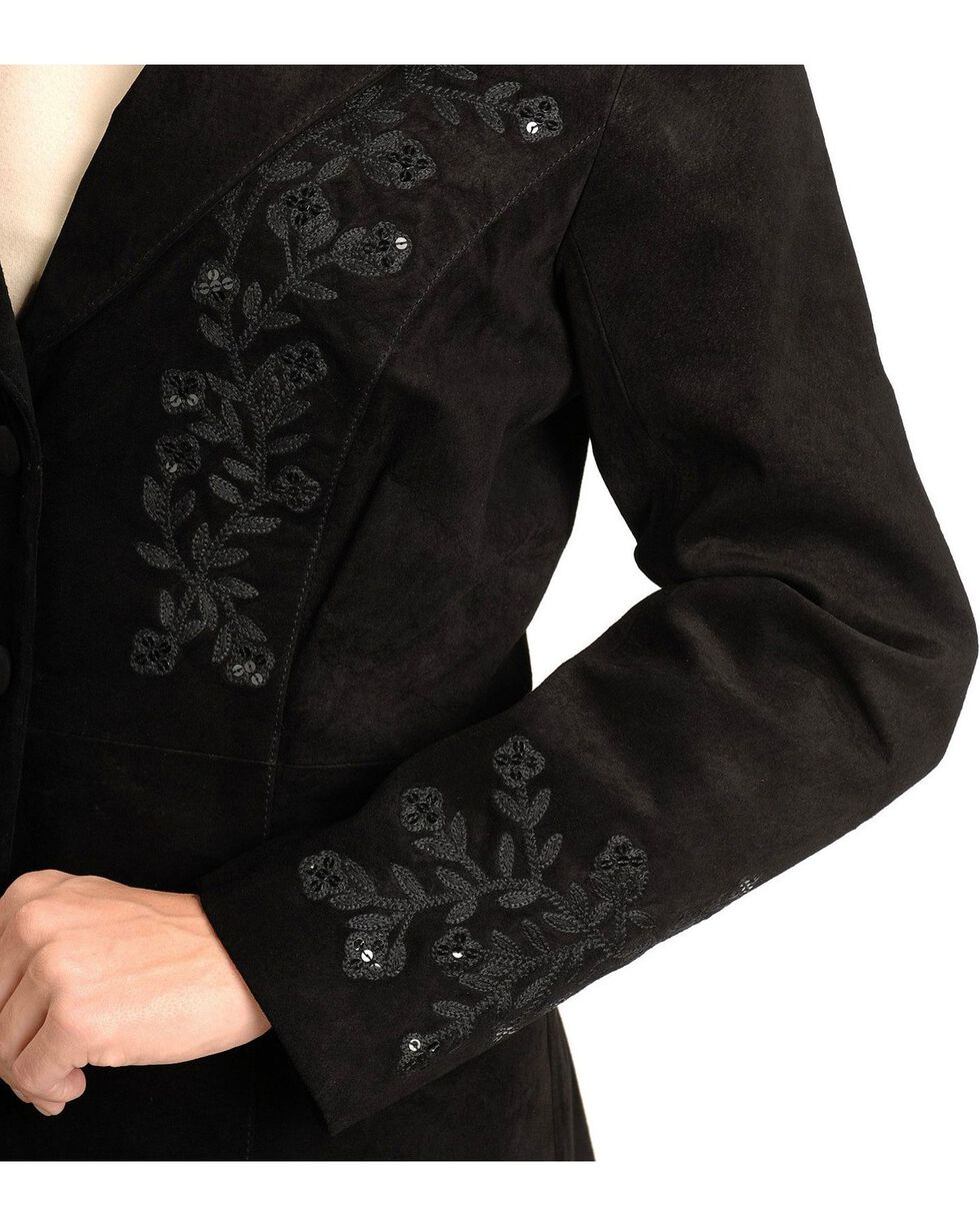Scully Embroidered Leather Jacket, Black, hi-res