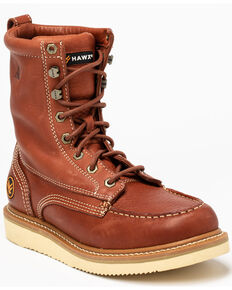 Hawx® Men's Lacer Wedge Work Boots - Soft Toe, Brown, hi-res