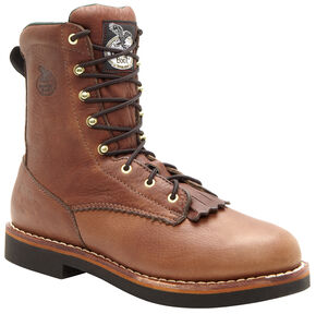 "Georgia Boots Women's 8"" Lacer Work Boots, Brown, hi-res"