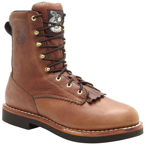 """Georgia Boots Women's 8"""" Lacer Work Boots, Brown, hi-res"""