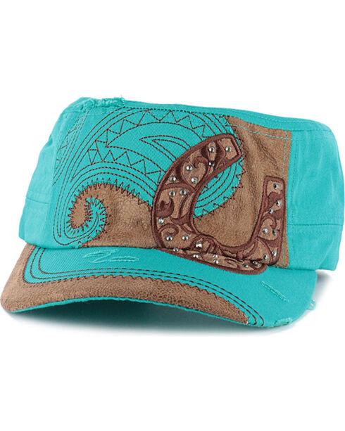 Savana Women's Horseshoe Military Cap , Turquoise, hi-res