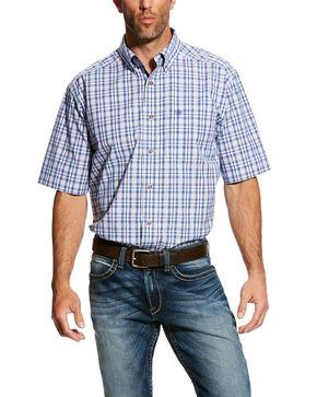 Ariat Men's Gaffery Plaid Short Sleeve Western Shirt - Big & Tall , White, hi-res