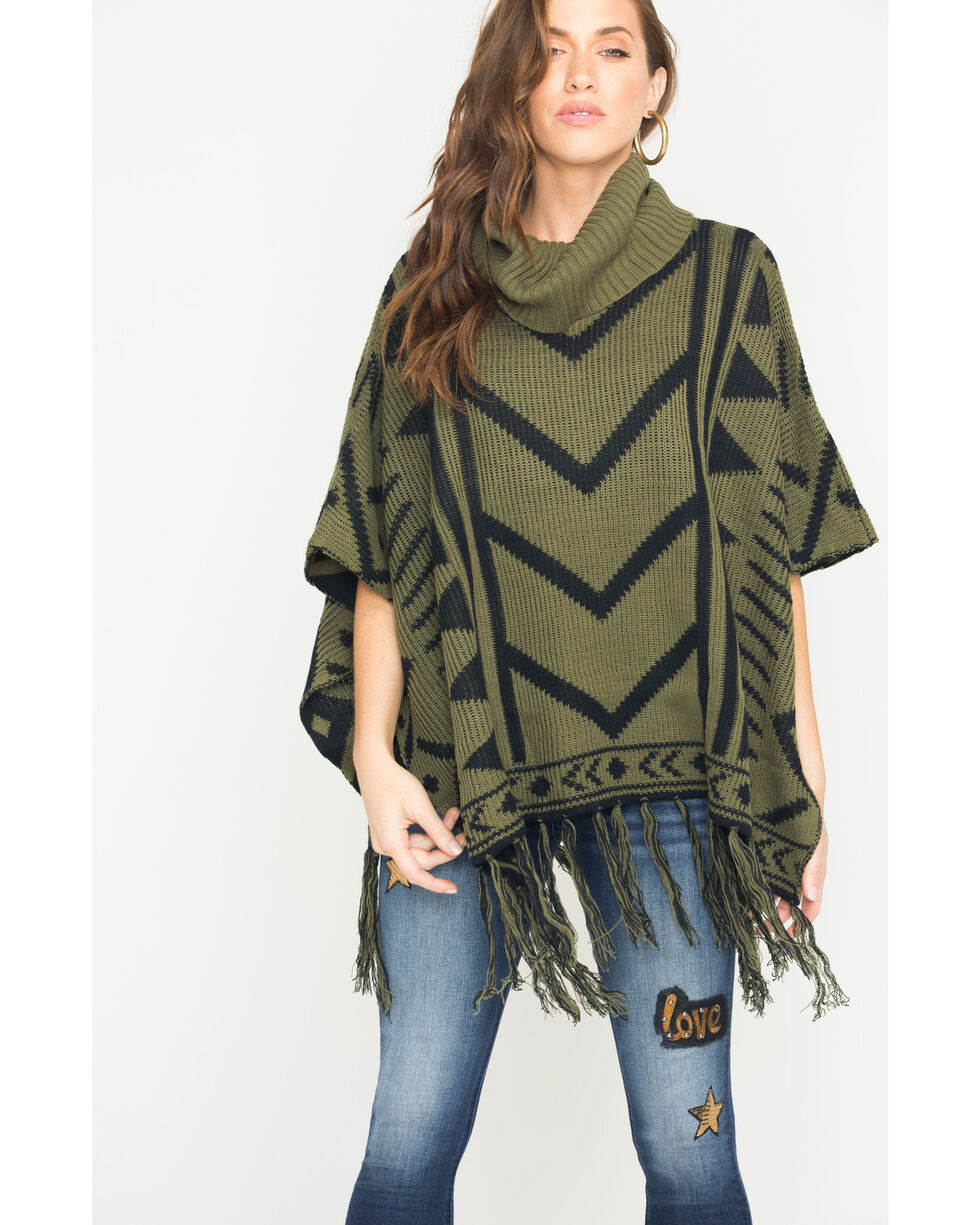 Allison Brittney Women's Jacquard Poncho with Fringe, Moss Green, hi-res