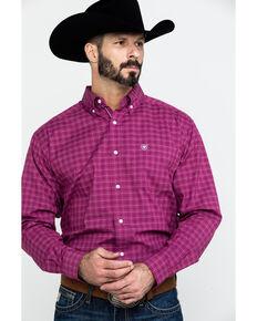 Ariat Men's Atticus Stretch Plaid Long Sleeve Western Shirt - Tall , Burgundy, hi-res