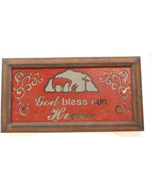 Western Moments Rustic Mirror God Bless Our Home Wall Decor, Multi, hi-res