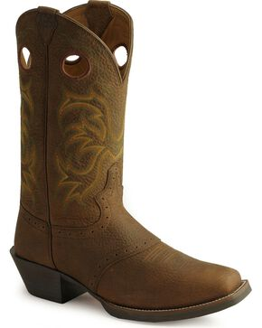 Justin Men's Punchy Stampede Cowboy Boots - Square Toe, Dark Brown, hi-res