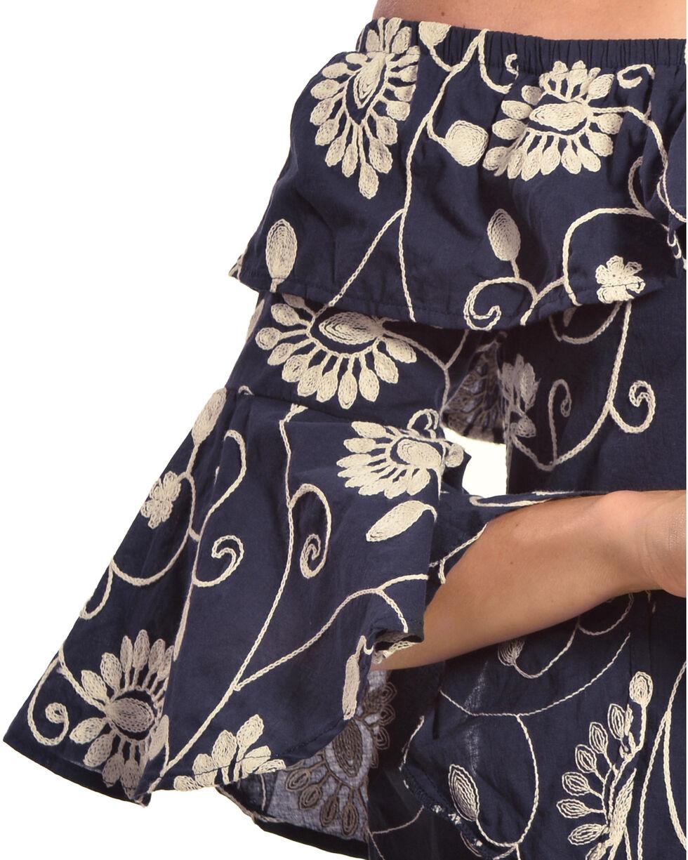 Polagram Women's Floral Ruffled Off-The-Shoulder Dress, Navy, hi-res