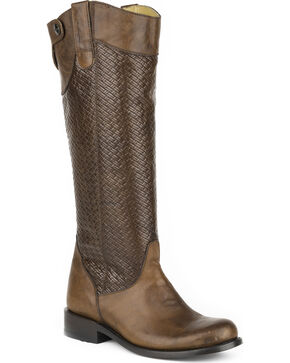Stetson Women's Chelsea Basket Weave Western Boots - Round Toe, Brown, hi-res
