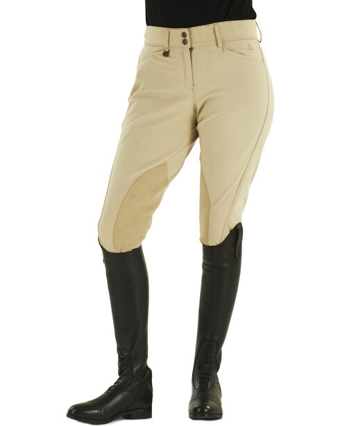 Ovation Euroweave DX Taylored Front Zip Knee Patch Breeches, Tan, hi-res