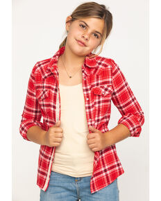 Shyanne Girls' Red Plaid Woven Lace Trim Long Sleeve Western Shirt, Red, hi-res