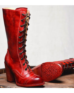 Oak Tree Farm Ariana Red Boots - Round Toe, Red, hi-res