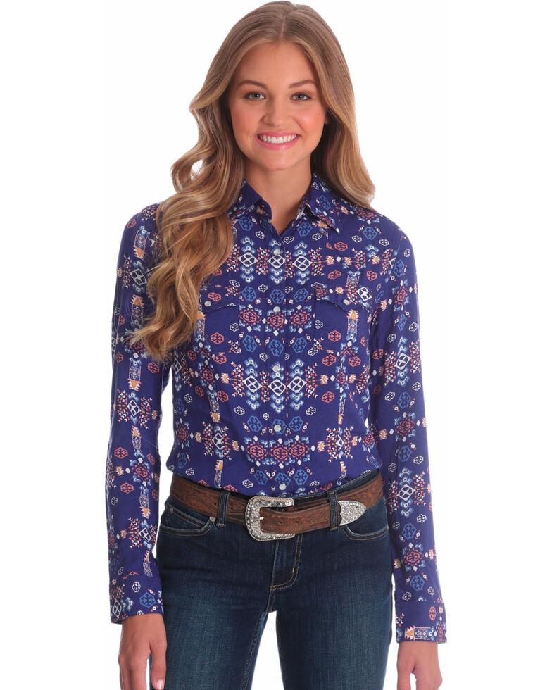 0a984555 Zoomed Image Wrangler Women's Aztec Print Long Sleeve Western Shirt, Navy,  hi-res