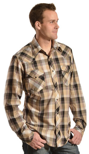 Red Ranch Tan and Black Plaid Embroidered Western Shirt, Tan, hi-res