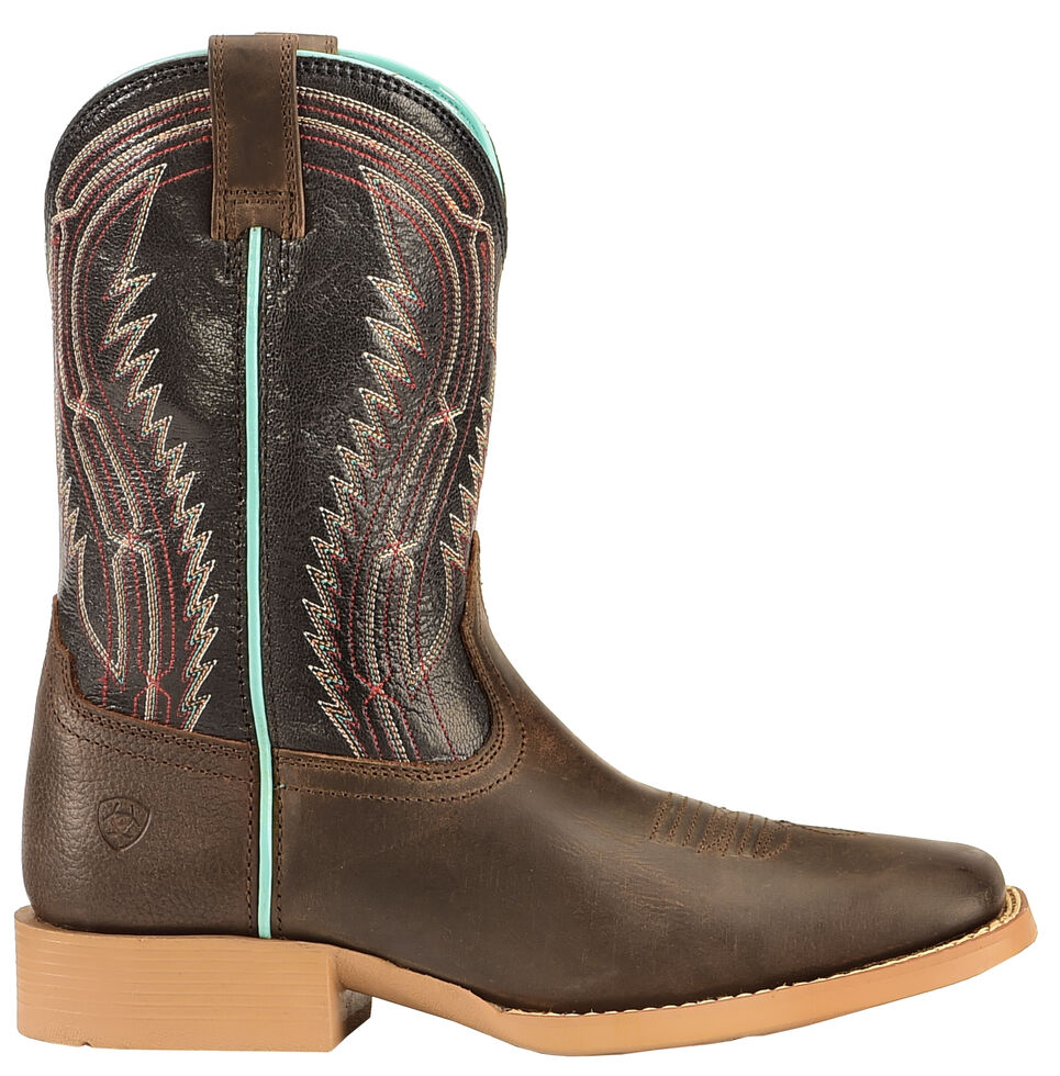 Ariat Girls' Brown Chute Boss Boots - Wide Square Toe , Brown, hi-res