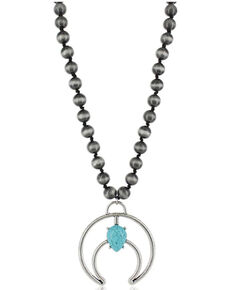Montana Silversmiths Women's Teardrop Crescent Silver Necklace, No Color, hi-res