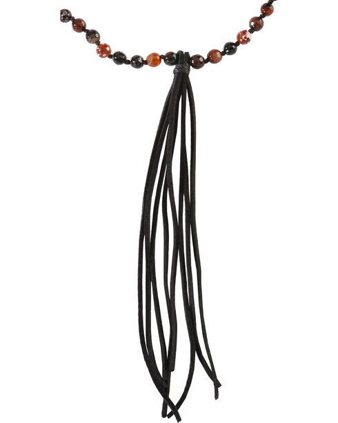 Jewelry Junkie Red Tiger's Eye Beaded Necklace with Black Fringe Tassel, Multi, hi-res