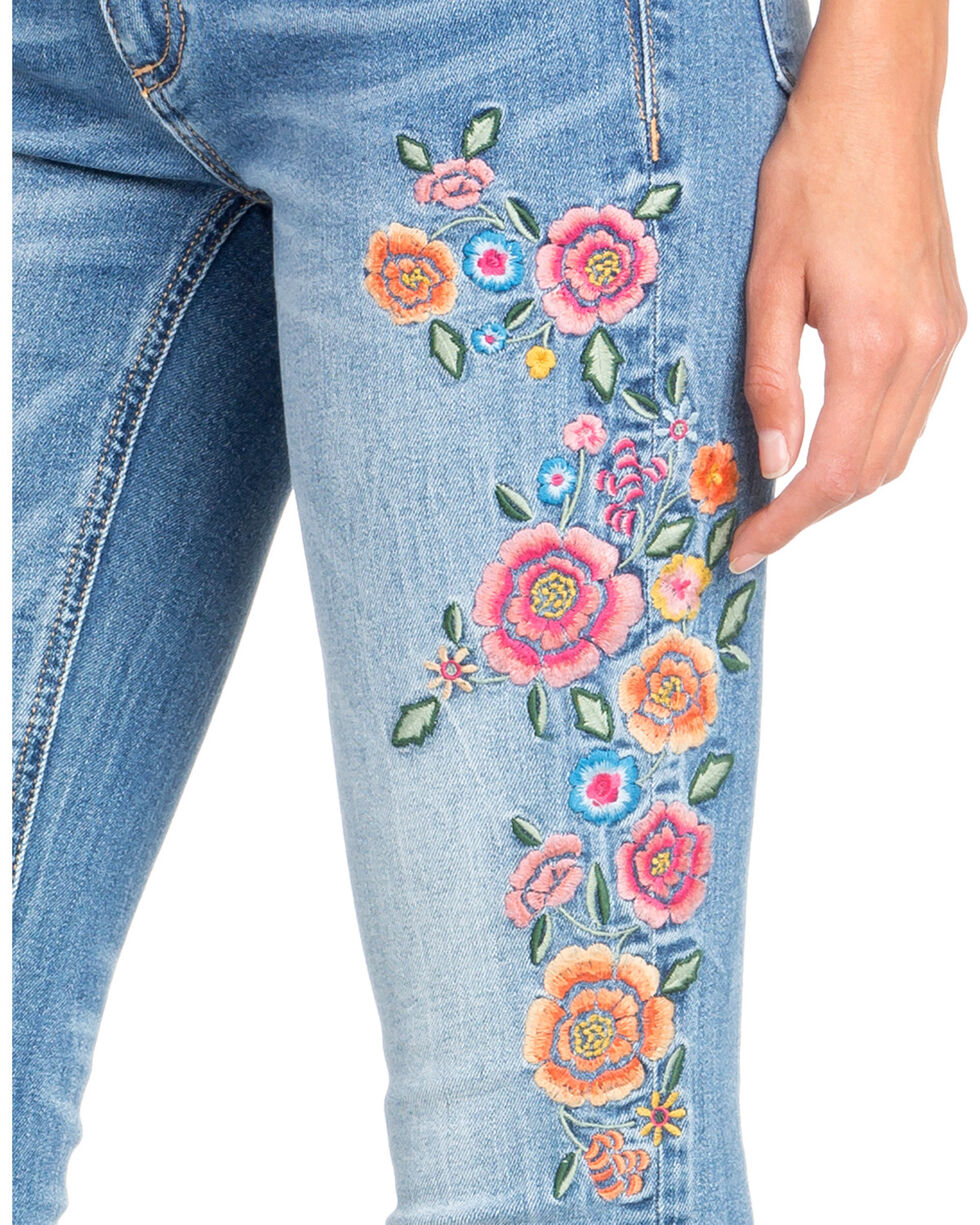 Miss Me Women's Floral Embroidered Ankle Skinny Jeans, Indigo, hi-res