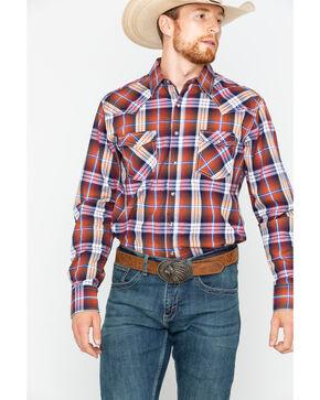 Wrangler Men's Retro Rust Plaid Western Shirt , Rust Copper, hi-res