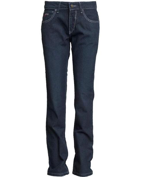 Lapco Women's FR Modern Fit Jeans - Straight Leg , Dark Blue, hi-res