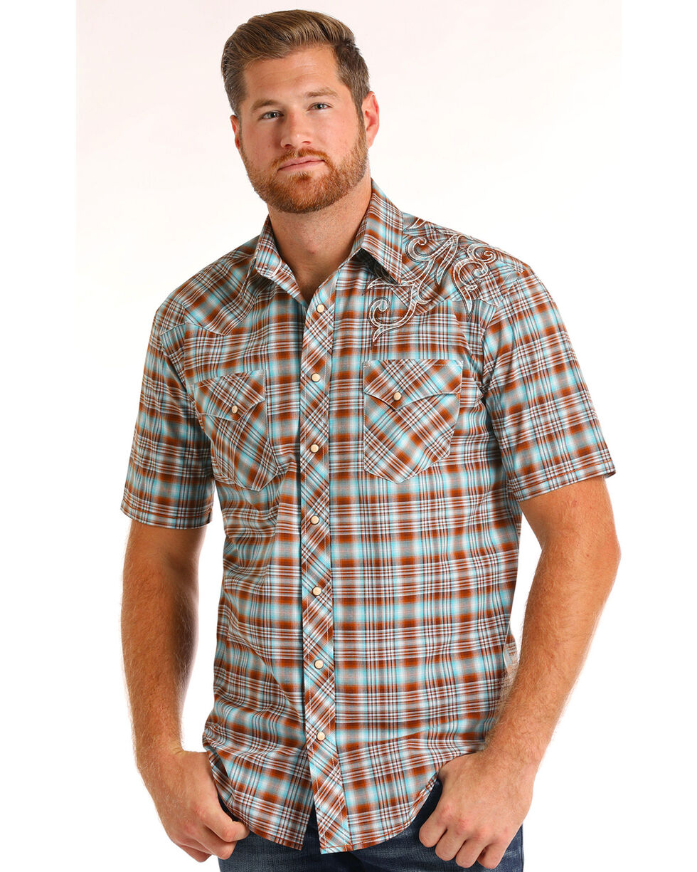 Rough Stock by Panhandle Men's Ombre Plaid Short Sleeve Shirt, Brown, hi-res
