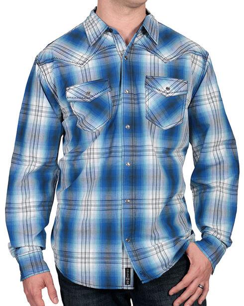 Moonshine Spirit Men's Blue Plaid Western Shirt, Blue, hi-res