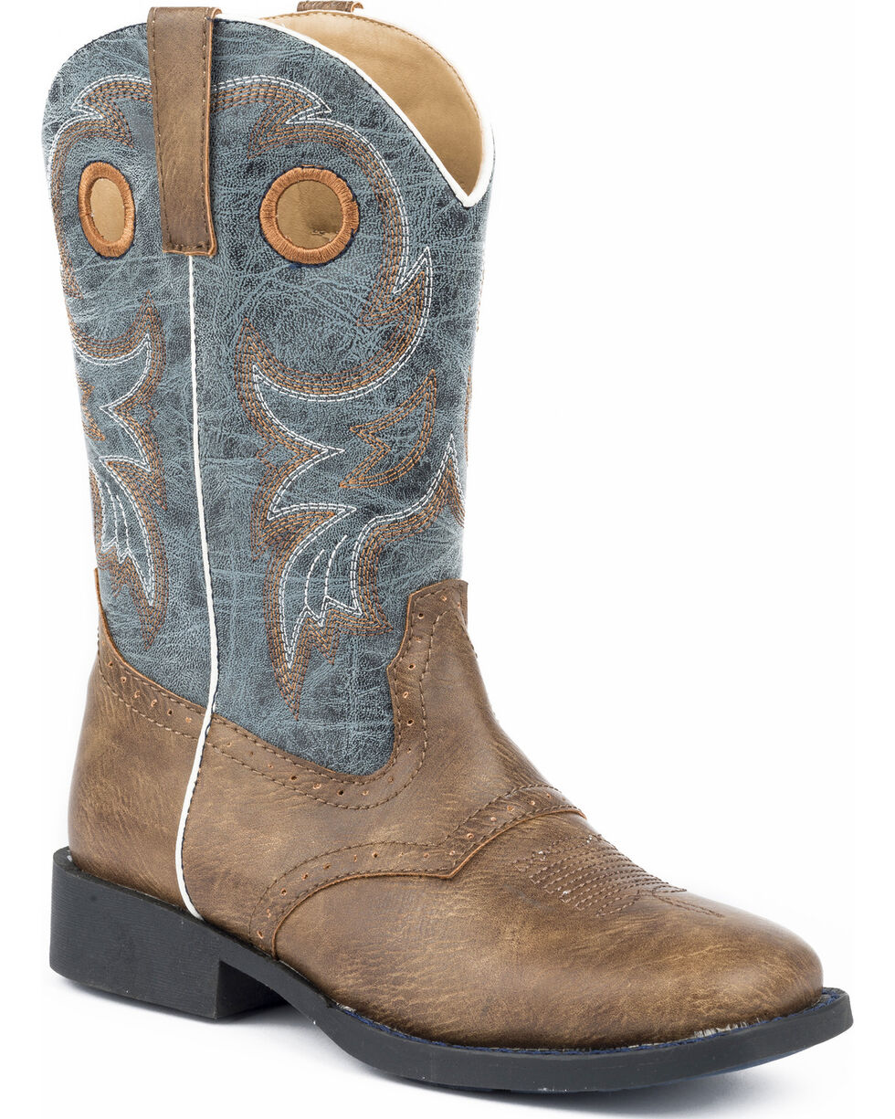 Roper Youth Boys' Daniel Distressed Saddle Vamp Cowboy Boots - Square Toe, , hi-res