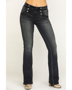 Rock & Roll Denim Women's Charcoal Button Flare Jeans , Charcoal, hi-res