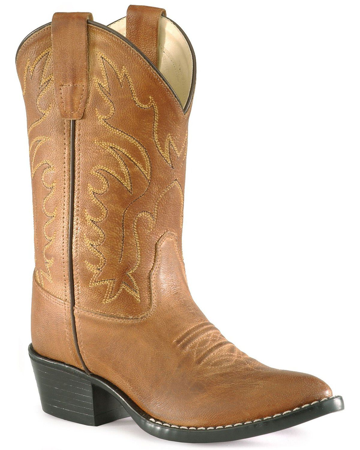 Old West Dark Brown Youth Boys Leather Saddle Cowboy Boots