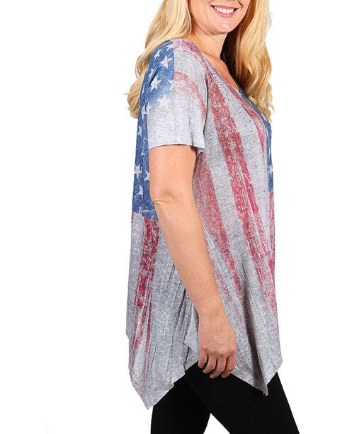 Vocal Women's Distressed American Flag Short Sleeve Top - Plus, Heather Grey, hi-res