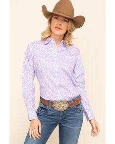 George Strait by Wrangler Women's Purple Paisley Long Sleeve Western Shirt , Purple, hi-res