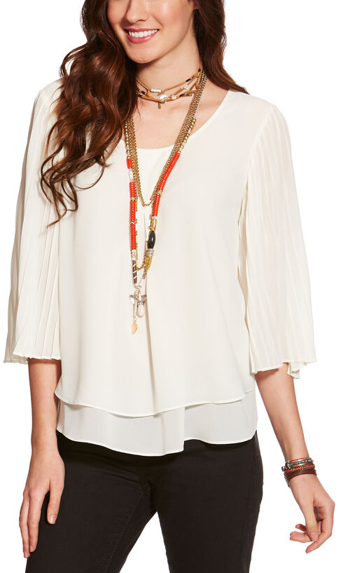 Ariat Women's Bandi Long Sleeve Top, Ivory, hi-res