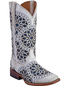 Ferrini Women's Mandala Western Boots - Square Toe , White, hi-res
