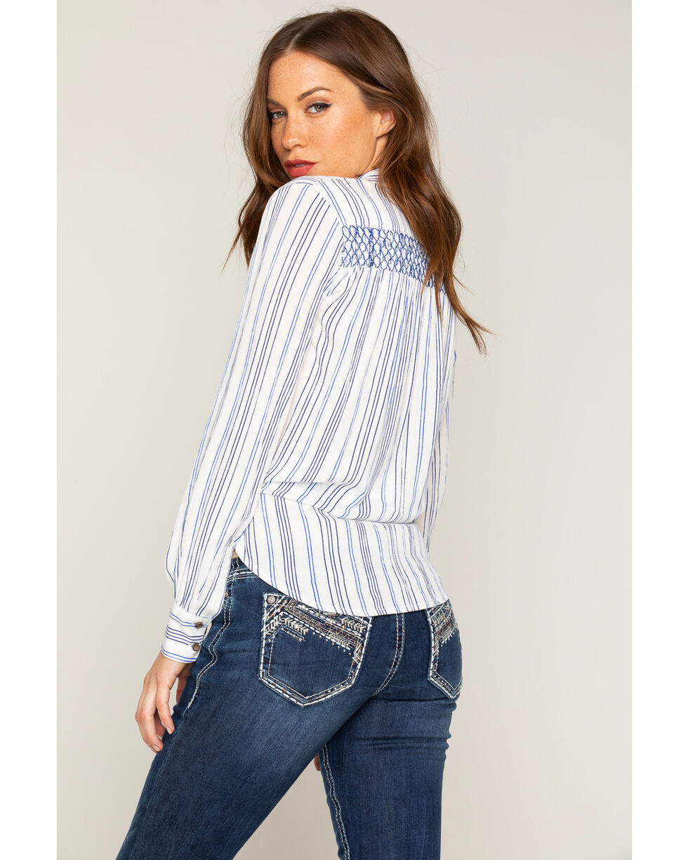 Shyanne Women's Striped Tie-Front Shirt, Ivory, hi-res
