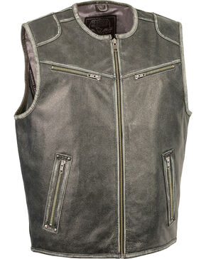 Milwaukee Leather Men's Vintage Distressed Zipper Front Vest, Grey, hi-res